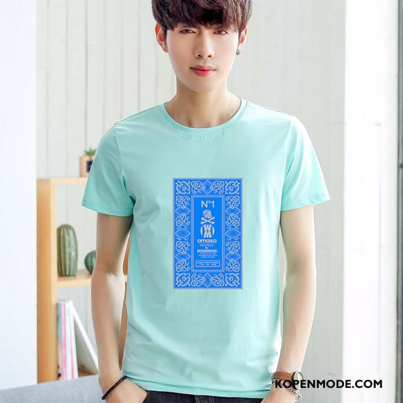 T-shirts Heren Mode Nieuw Mouw Voorjaar Korte Mouw Mannen Lichtblauw