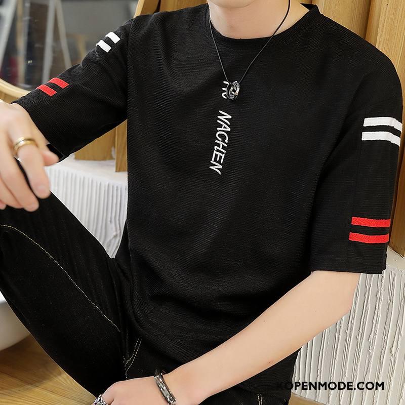 T-shirts Heren Mode Zomer Trend Halve Mouw Casual Nieuw Zwart