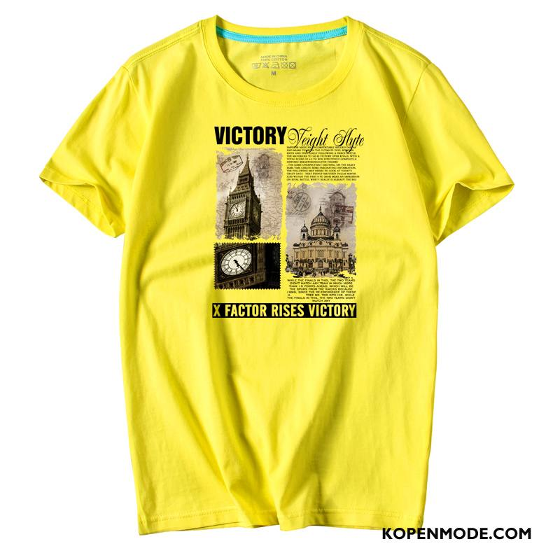 T-shirts Heren Onderhemd Jasje Trend Halve Mouw Mannen Grote Maten Geel Wit