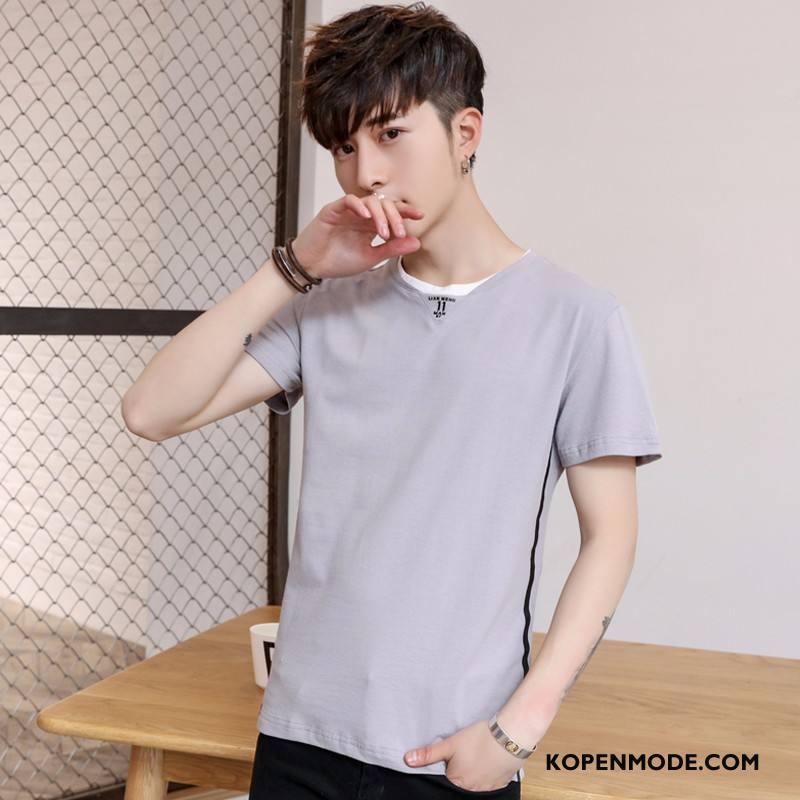 T-shirts Heren Slim Fit Casual Mode Mannen Korte Mouw Grijs Licht Bruin