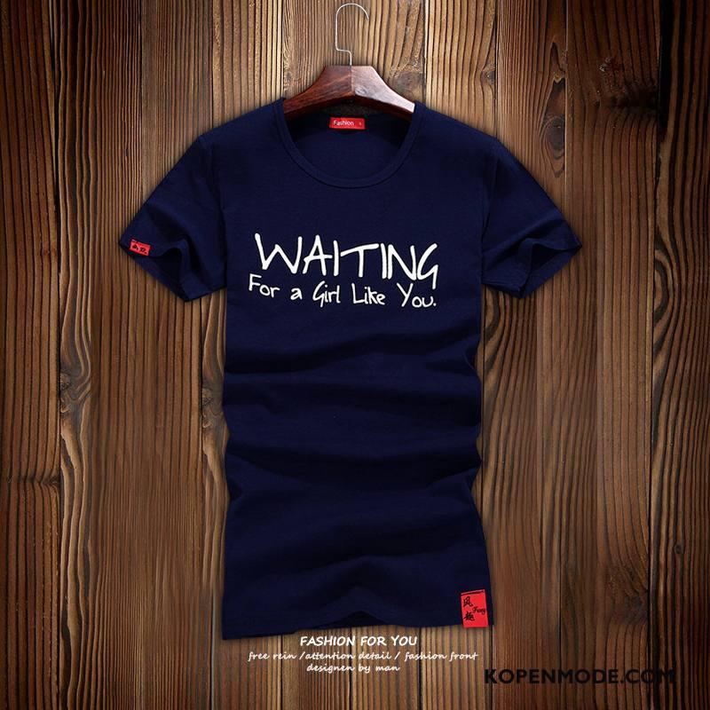 T-shirts Heren Trend Nieuw Casual Populair Korte Mouw Ronde Hals Marineblauw