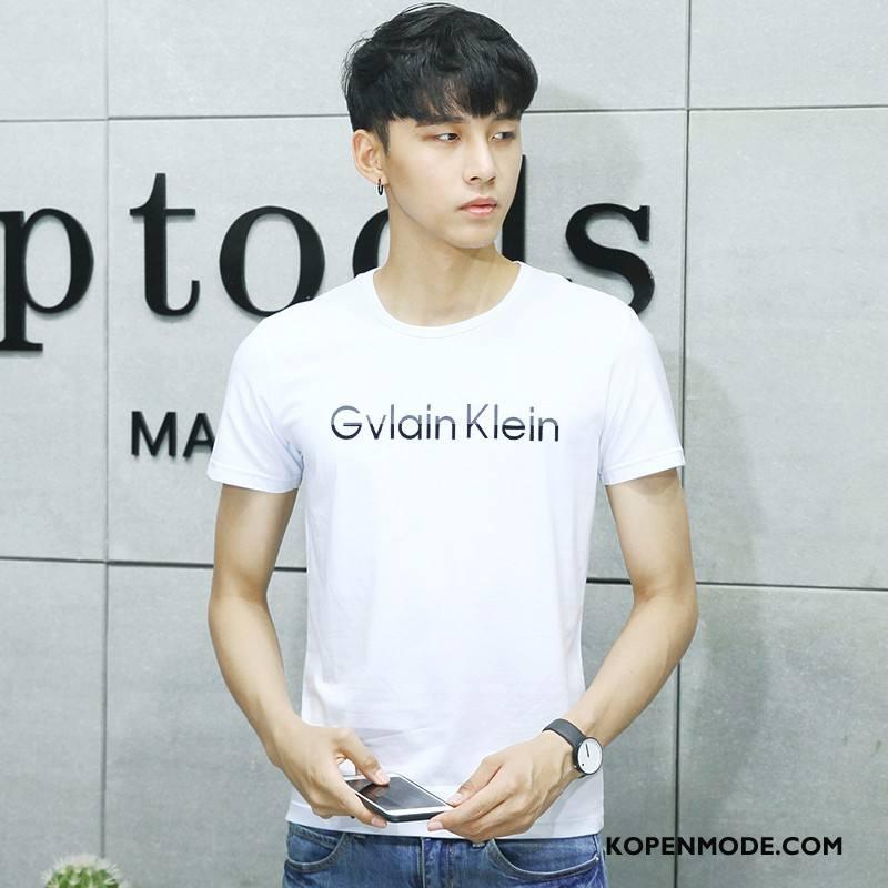 T-shirts Heren Zomer Jasje Trend Nieuw Korte Mouw Mooi Wit