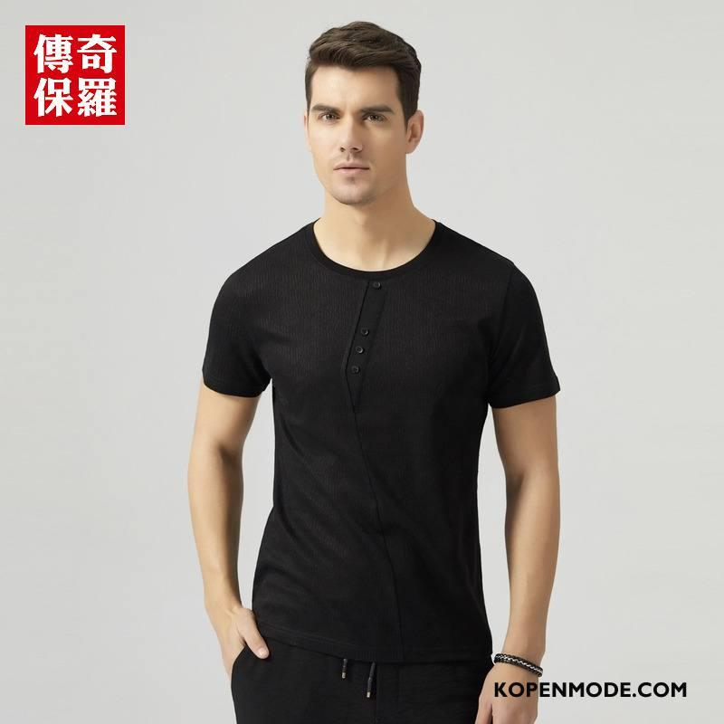 T-shirts Heren Zomer Verbinding Asymmetrisch Jasje Mannen Trend Effen Kleur Zwart
