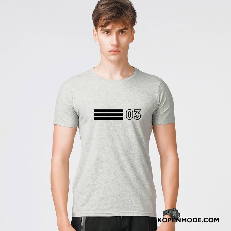 T-shirts Heren Zomer Voorjaar Korte Mouw Mannen Mode Nieuw Grijs