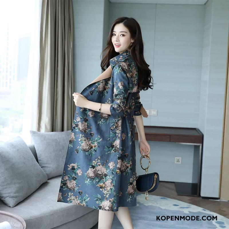 Trenchcoat Dames Bloemen Herfst Dunne Geborduurde Trend Mode Blauw