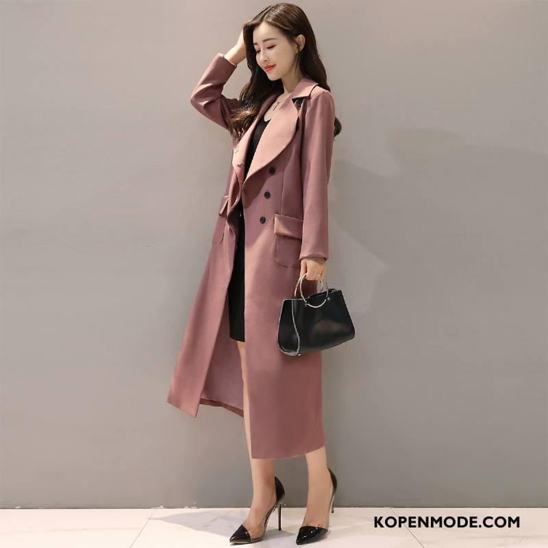 Trenchcoat Dames Lange Mouwen Elegante Trend Mode Herfst 2018 Purper Roze