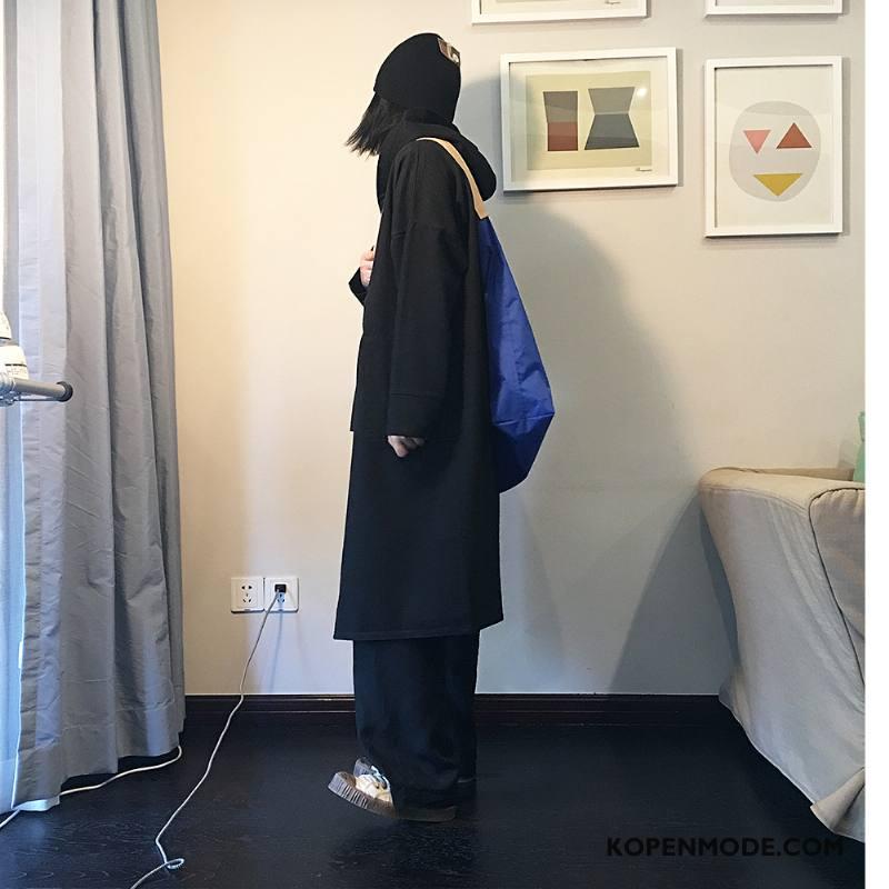 Trenchcoat Dames Lange Mouwen Slim Fit Populair Eenvoudige Dunne Herfst Effen Kleur Zwart