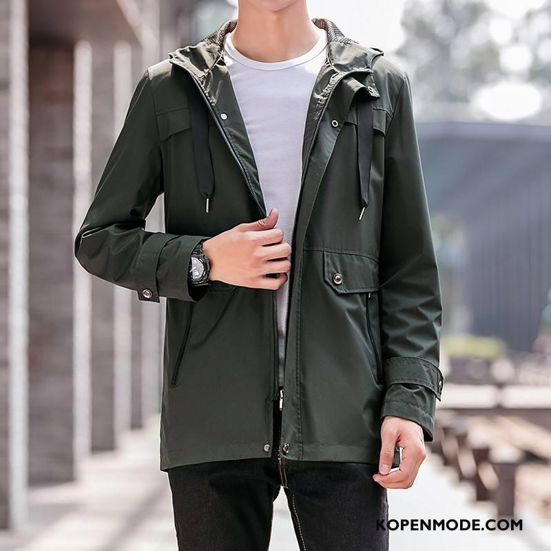 Trenchcoat Heren 2018 Trend Mannen Mooi Winter Lang Legergroene Effen Kleur