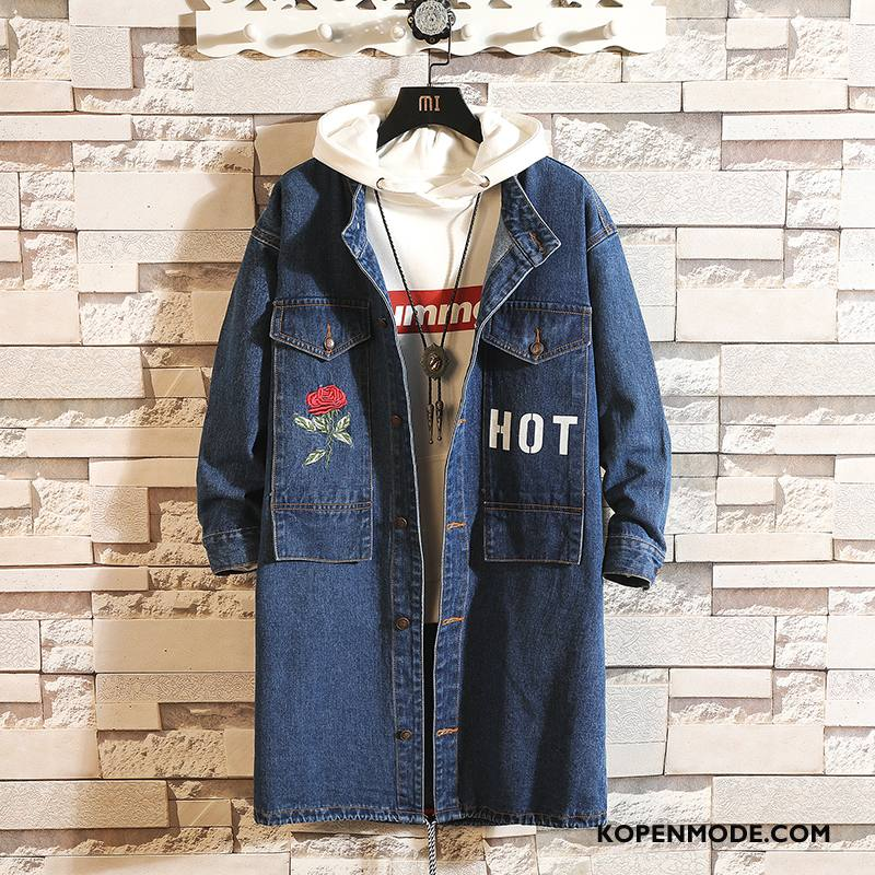 Trenchcoat Heren Campus Trend Trendy Merk Denim Mode Lovers Blauw