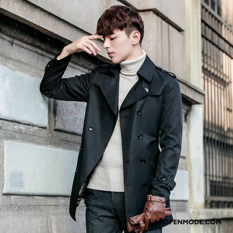 Trenchcoat Heren Dunne Winter Trend Nieuw Brits Mode Zwart