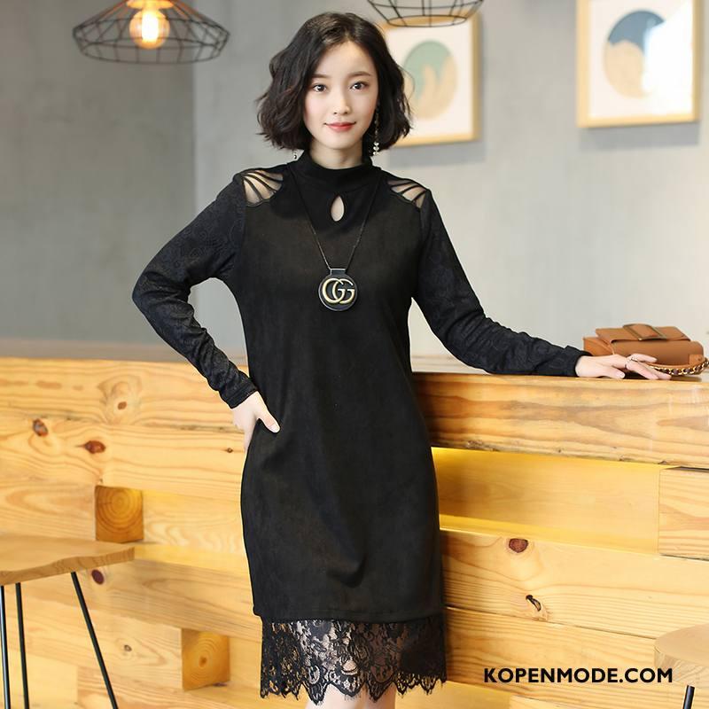 Truien Dames Dunne Winter Stad Eenvoudige Mode Jeugd Effen Kleur Zwart