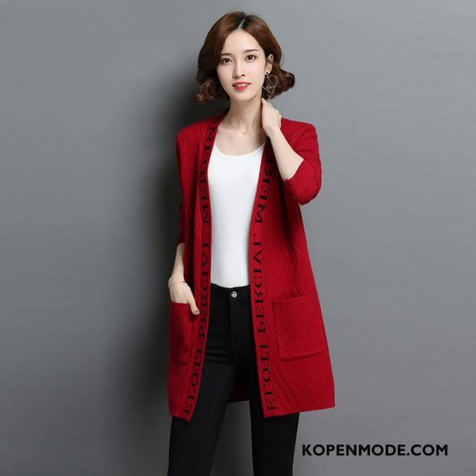 Truien Dames Jeugd Mode Mini Vers Populair Gebreid Hemd Effen Kleur Rood