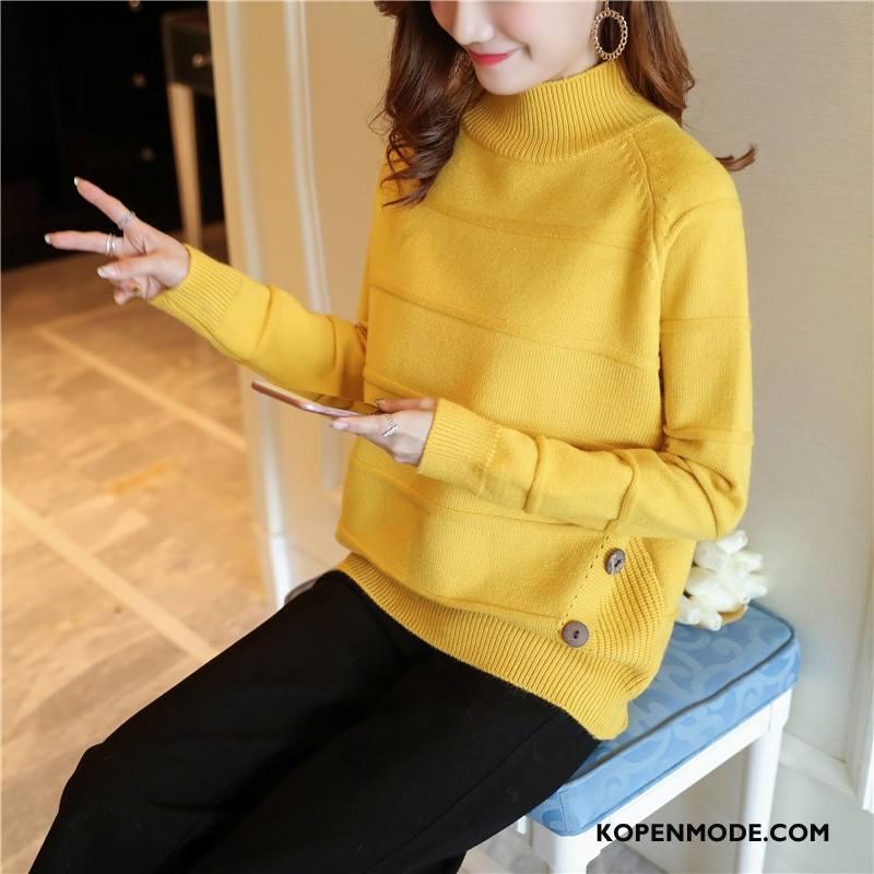 Truien Dames Mode Hoge Kraag Lange Mouwen Mooi Elegante Winter Effen Kleur Geel
