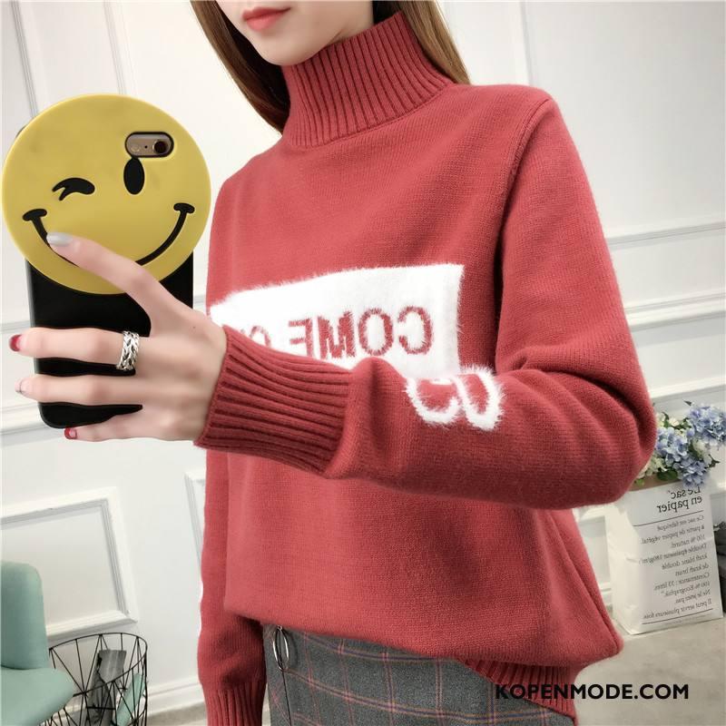 Truien Dames Winter 2018 Trend Dunne Gebreid Hemd Comfortabele Rood