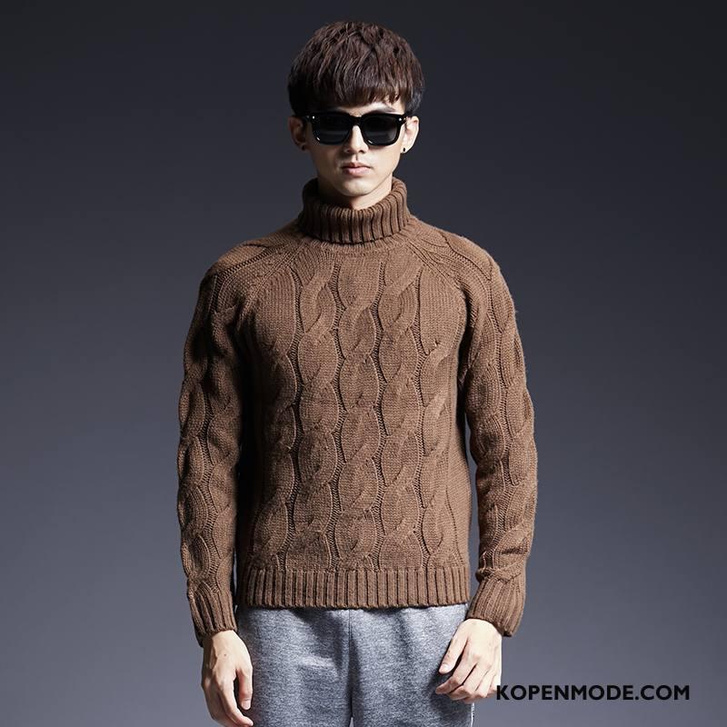 Truien Heren Dikke Pullover Vintage Trend Gebreid Hemd Bloemen Bruine
