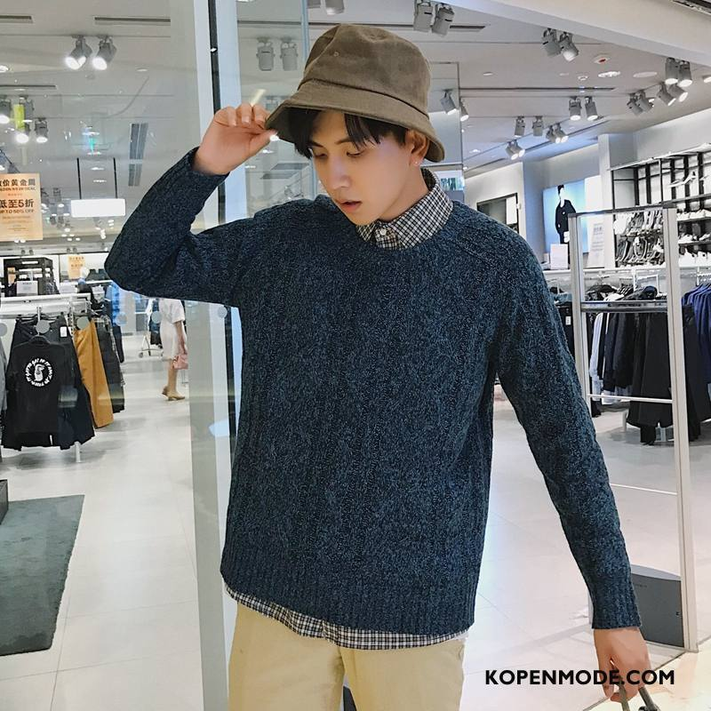 Truien Heren Kunst Mannen Pullover Gebreid Hemd Donkerblauw
