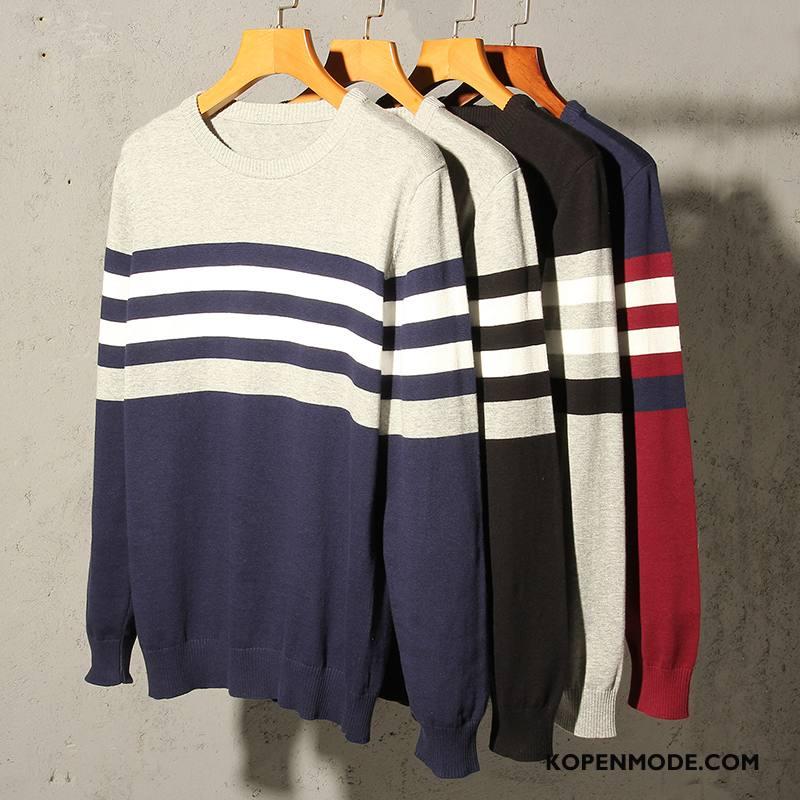 Truien Heren Mode Onderhemd Ronde Hals Trend Slim Fit Mannen Blauw