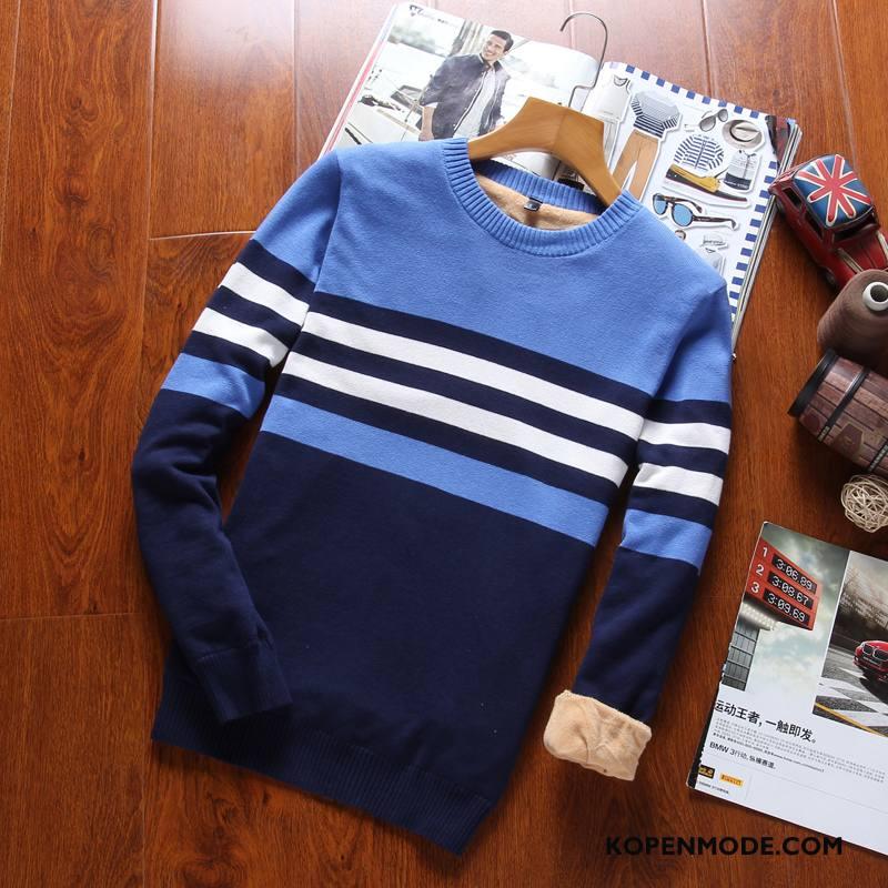 Truien Heren Pullover Warme Katoen Ronde Hals Winter Dikke Blauw