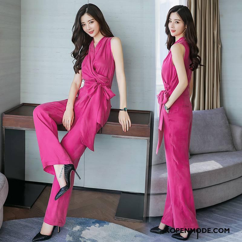 Tuinbroek Dames 2018 Elegante Comfortabele Slim Fit Siamese Broek Zomer Roze Rood