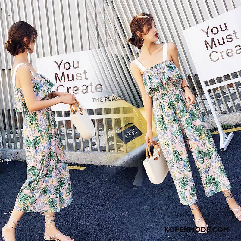 Tuinbroek Dames 2018 Zomer Bloemen Eenvoudige Bretels Elegante Groen
