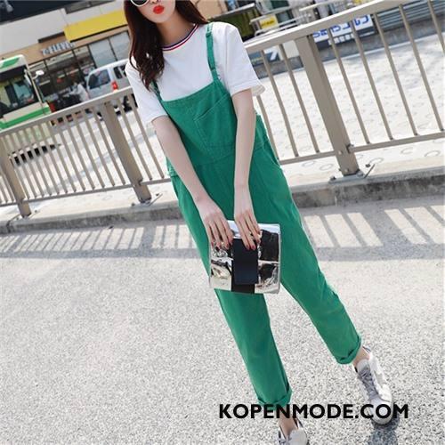 Tuinbroek Dames Eenvoudige Hoge Taille Met Riem Elegante Populair Siamese Broek Groen