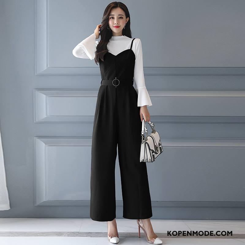 Tuinbroek Dames Hoge Taille 2018 Mode Elegante Trend Siamese Broek Effen Kleur Zwart
