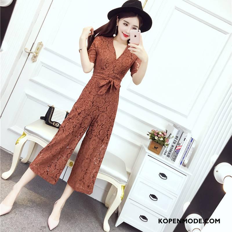 Tuinbroek Dames Korte Mouw Elegante Trend Zomer Mode Siamese Broek Effen Kleur Bruine