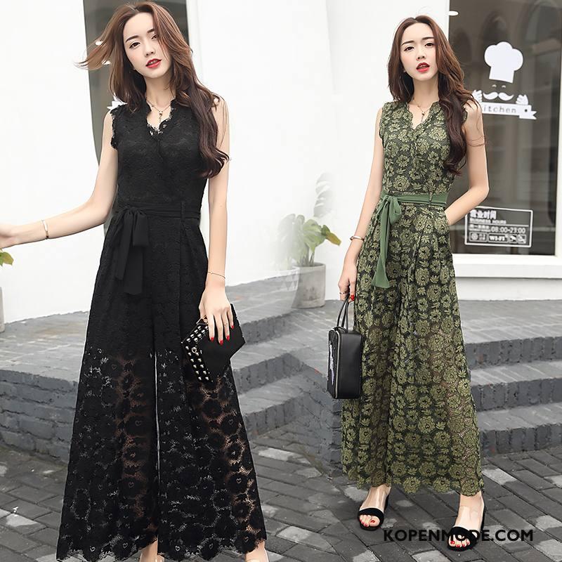 Tuinbroek Dames Mode Zoet Jurk Elegante Mouwloos Zomer Zwart