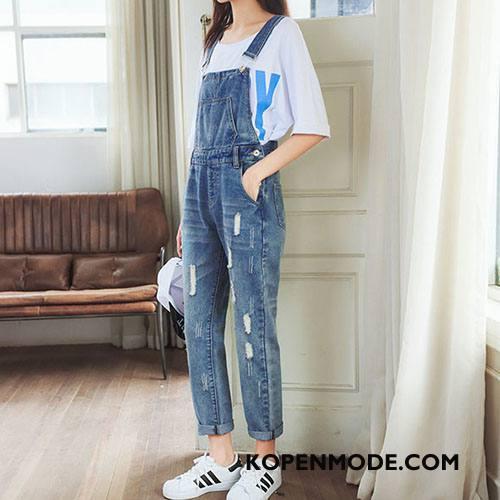 Tuinbroek Dames Potlood Broek Hoge Taille Trend 2018 Voorjaar Bretels Blauw