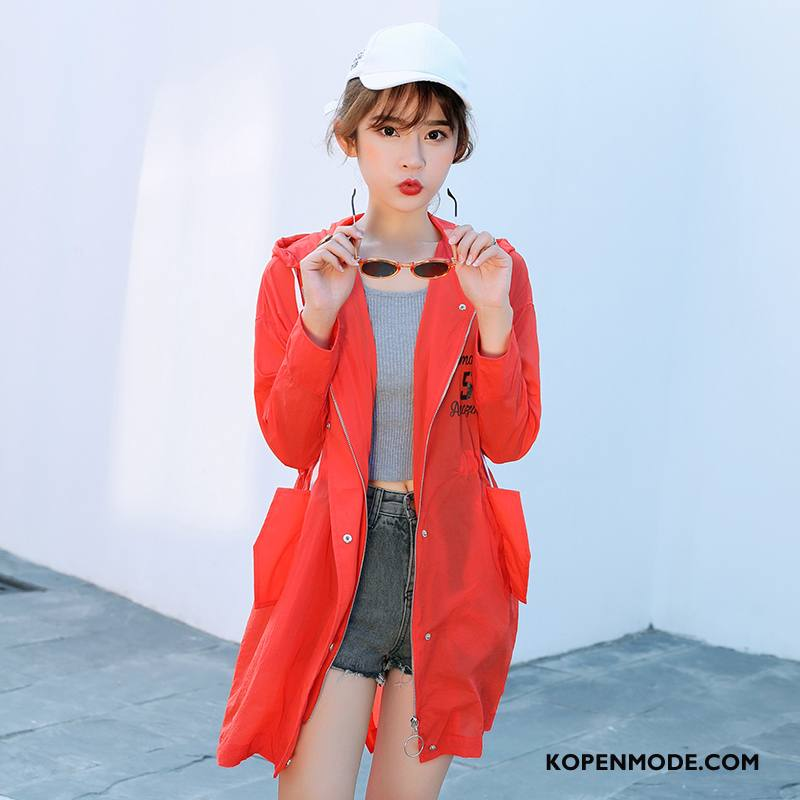 Uv Kleding Dames Eenvoudige Zomer Lang Lange Mouwen Rits Elegante Rood Oranje