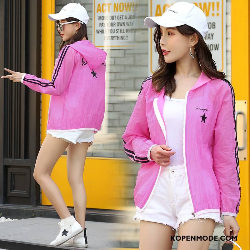 Uv Kleding Dames Elegante Trend Zonbeschermingskleding Dunne Slim Fit Kort Roze Rood