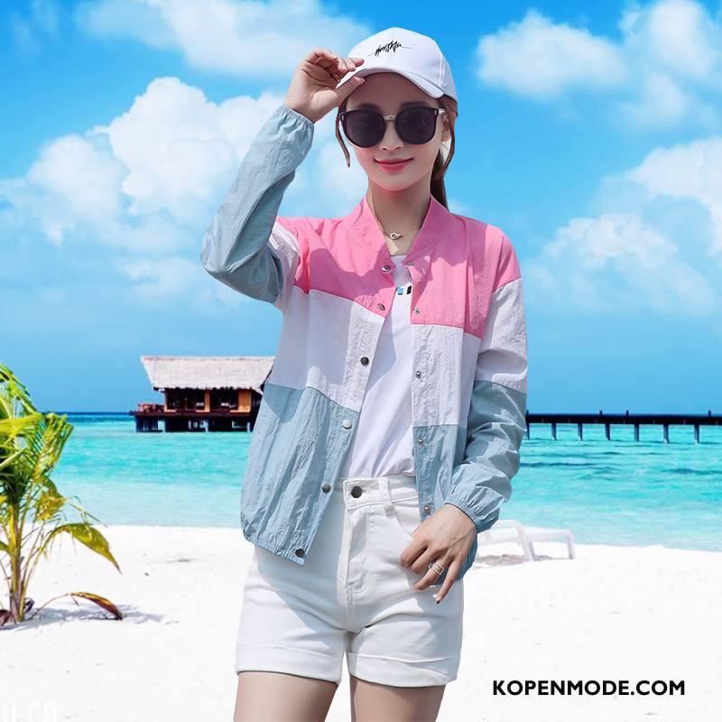 Uv Kleding Dames Lange Mouwen Dunne Slim Fit Mode Zoet Zonbeschermingskleding Roze Rood