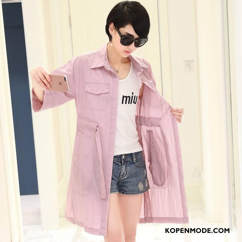 Uv Kleding Dames Mode Elegante Slim Fit 2018 Zonbeschermingskleding Voorjaar Roze Licht