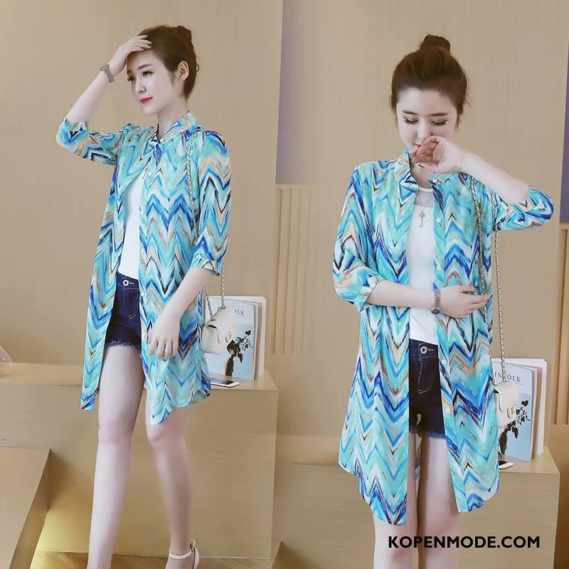 Uv Kleding Dames Mode Zomer Mouw Eenvoudige Zoet Zonbeschermingskleding Blauw