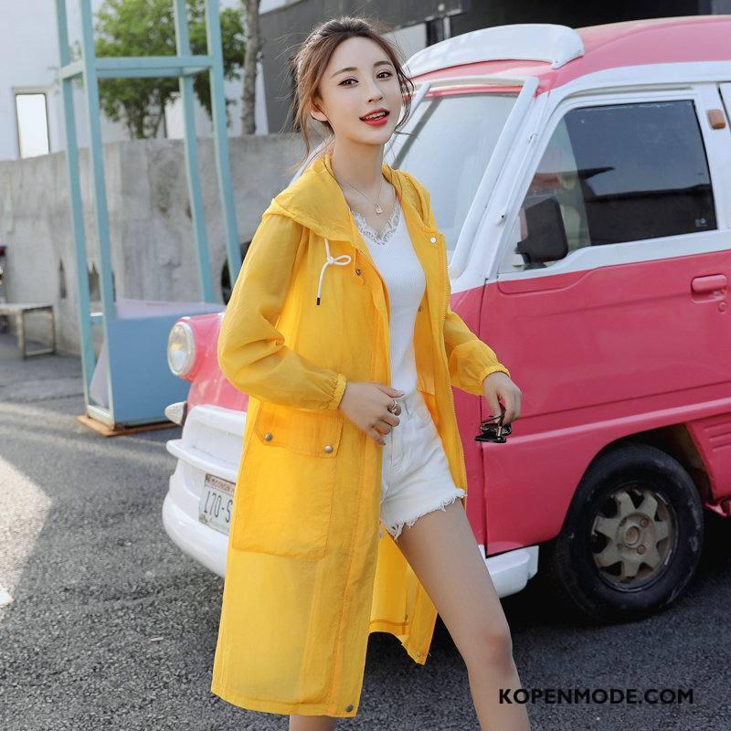 Uv Kleding Dames Persoonlijk Lange Mouwen Slim Fit Eenvoudige Zonbeschermingskleding Mode Geel