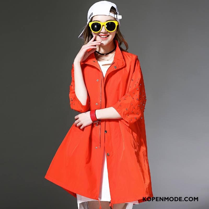 Uv Kleding Dames Trend Dunne Slim Fit Zonbeschermingskleding 2018 Mouw Effen Kleur Oranje