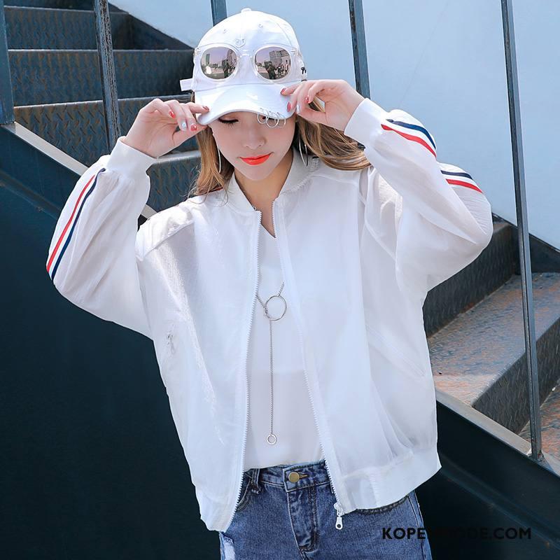 Uv Kleding Dames Trend Mode Kort Elegante Lange Mouwen Eenvoudige Wit