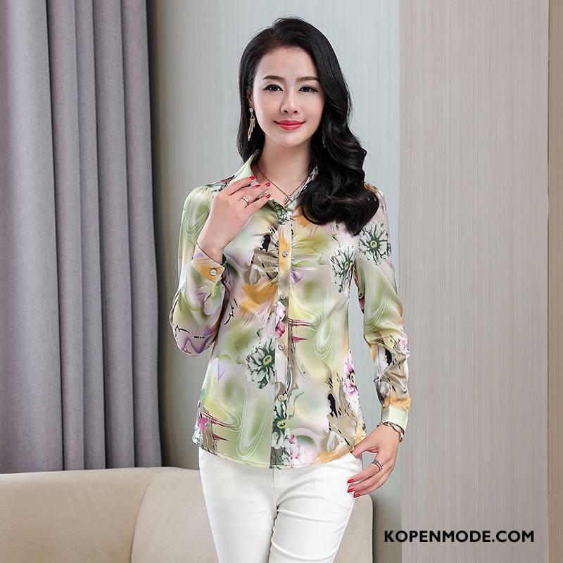 Zijden Jurk Dames Bedrukken Blouse Overhemd Zoet Mode Populair Comfortabele Groen