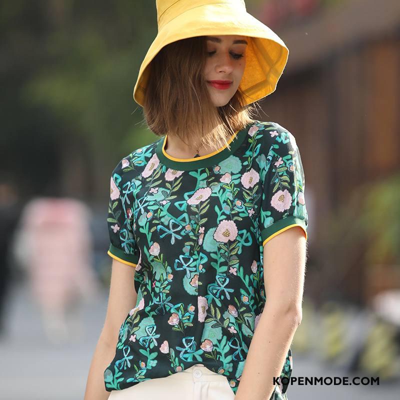Zijden Jurk Dames Bloemen Slim Fit Elegante Plant Voorjaar Mode Groen