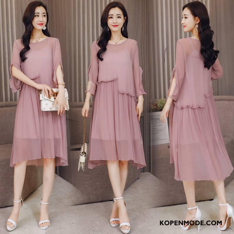 Zijden Jurk Dames Elegante Lang Zomer Comfortabele Persoonlijk Korte Mouw Effen Kleur Roze