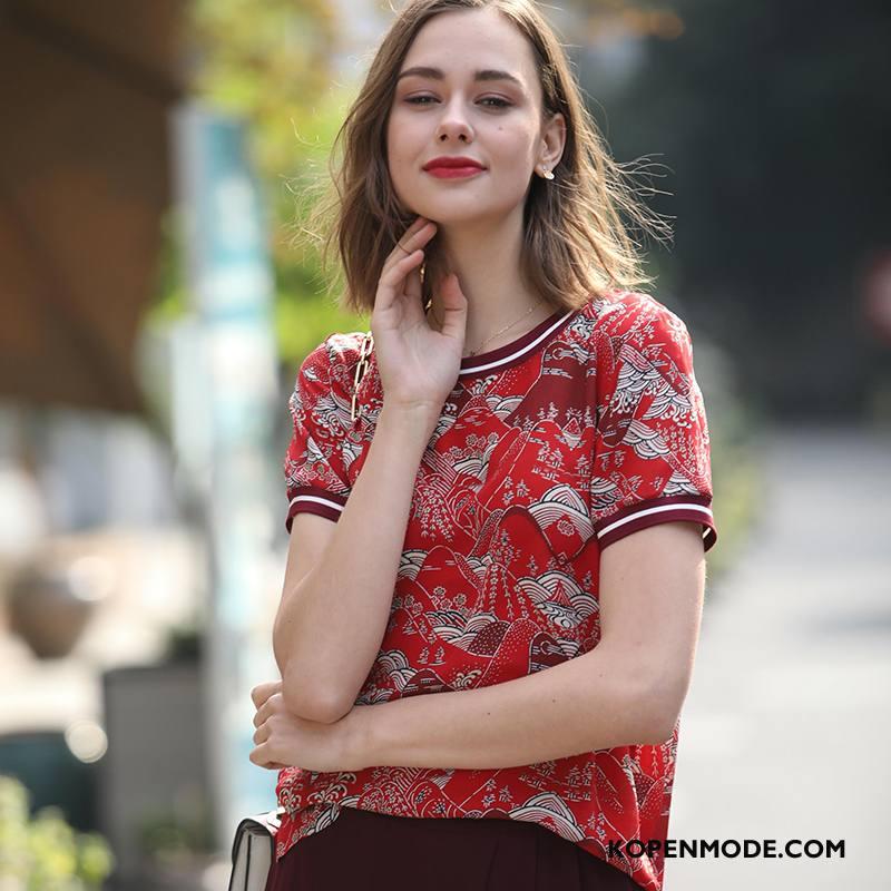 Zijden Jurk Dames Elegante Straat Voorjaar Mode Ronde Hals Dunne Rood