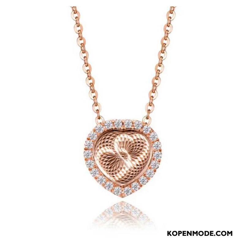 Zilveren Sieraden Dames Accessoires Vrouwen Zuiver Hart Roze Zilver Gouden