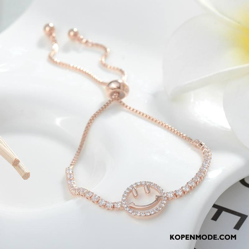 Zilveren Sieraden Dames Armbanden Smiley Verstelbaar Meisje Zuiver Vrouwen Zilver Gouden