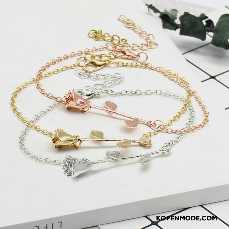 Zilveren Sieraden Dames Bloemen Mode Accessoires Geschenk Armbanden Roze