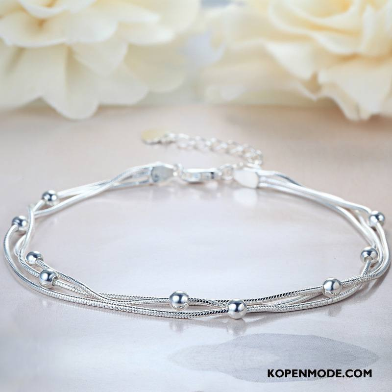 Zilveren Sieraden Dames Dubbele Armbanden Zuiver Accessoires Mode Eenvoudig Zilver