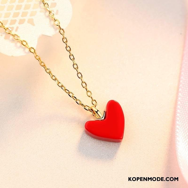 Zilveren Sieraden Dames Echte Zuiver Mini Liefde Accessoires Hart Zilver Rood