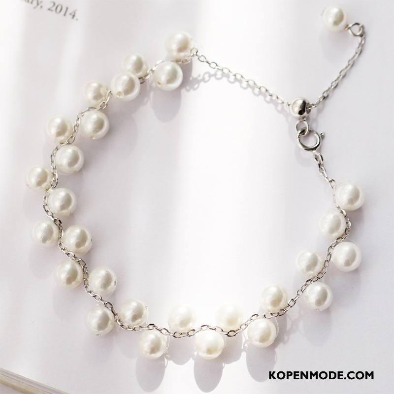 Zilveren Sieraden Dames Eenvoudig Accessoires Armbanden Parel Elegante Vrouwen Zilver