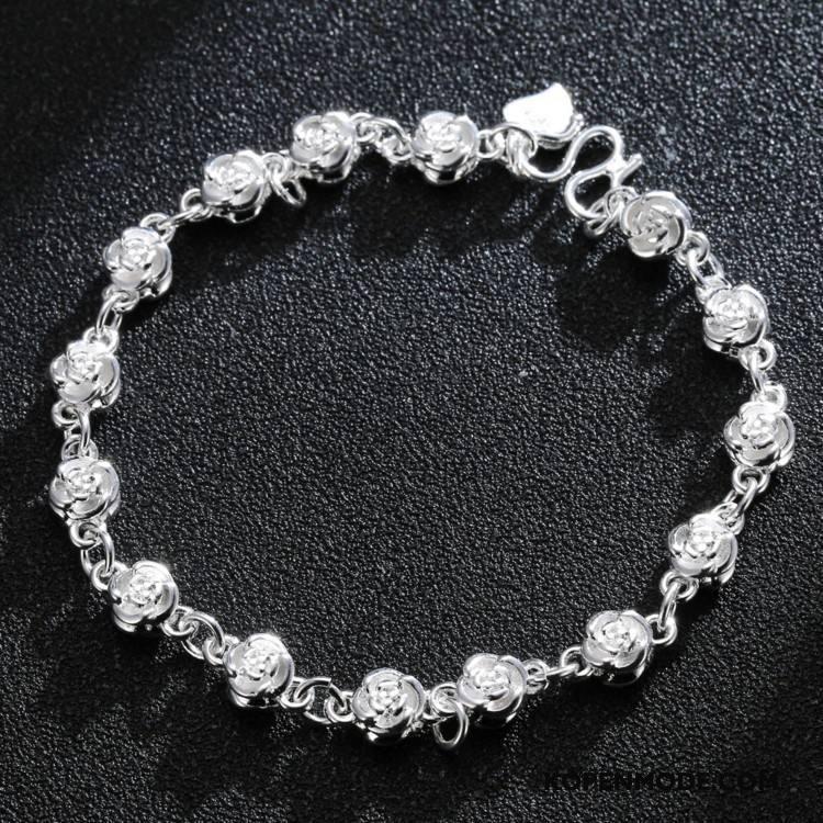 Zilveren Sieraden Dames Eenvoudig Accessoires Heet Bloemen Armbanden Vrouwen Roze Zilver