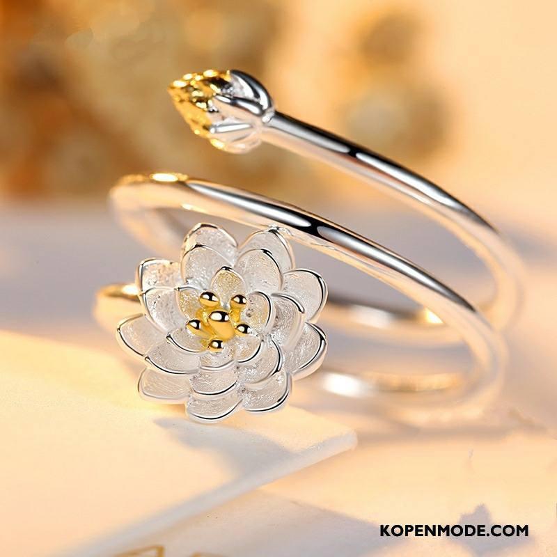 Zilveren Sieraden Dames Eenvoudig Scheppend Persoonlijkheid Accessoires Bloemen Trend Zilver
