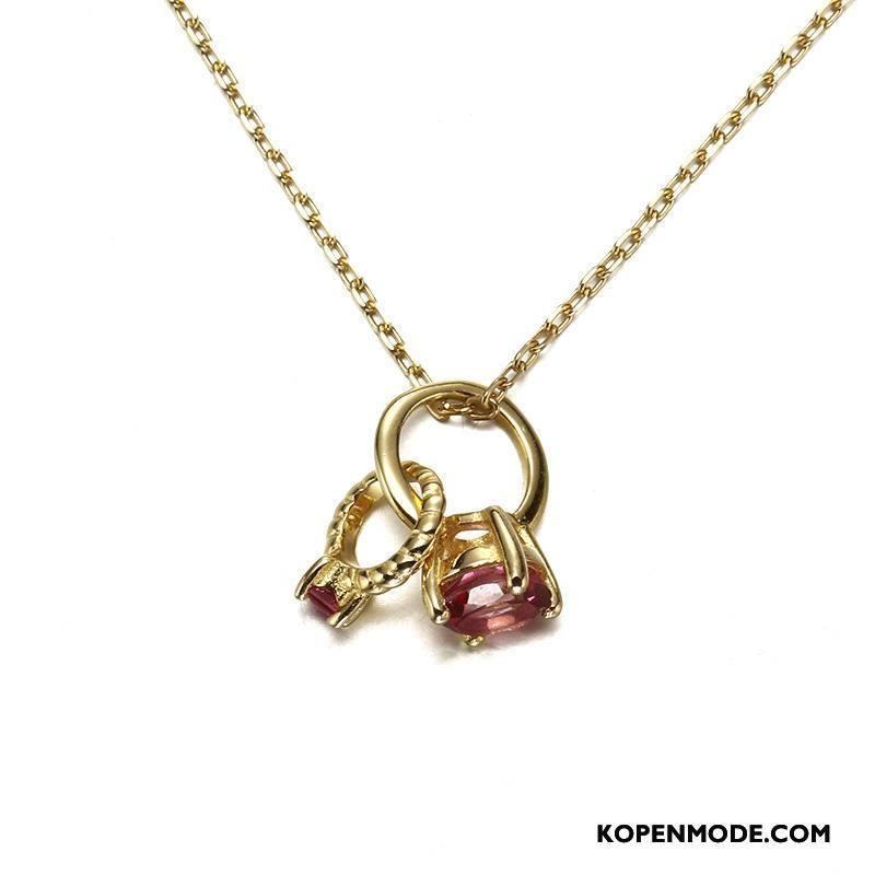 Zilveren Sieraden Dames Hanger Eenvoudig Vrouwen Accessoires Natuurlijk Persoonlijkheid Zilver Rood Gouden